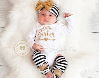 Little sister outfit, baby girl coming home outfit, little sister shirt, baby girl, newborn girl, going home outfit, coming home baby girl