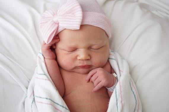 offre spéciale économies fantastiques choisir l'original Bonnet chapeau nouveau-né hôpital bonnet noeud bébé fille avec noeud-rose