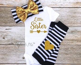LITTLE SISTER outfit little sister outfits girl newborn baby little Sister Bow Newborn Baby little sister