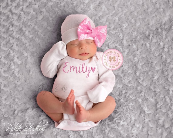 e6cf56b20 Pink Personalized baby girl outfit baby girl coming home