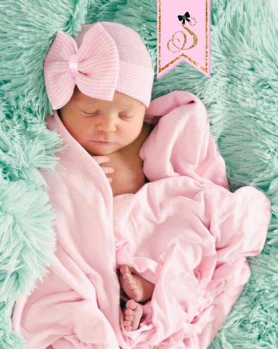 Chapeau nouveau-né hôpital bonnet noeud bébé fille. Bonnet   Etsy b14a2bf8155