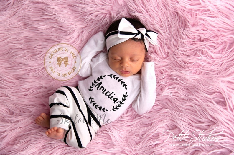 Baby Girl Coming Home Outfit Newborn Girl Take Home Outfit Personalized Baby Girl Clothe Baby Girl Clothes