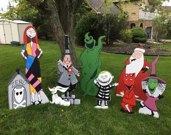 hand painted nightmare before christmas yard art set of ten characters