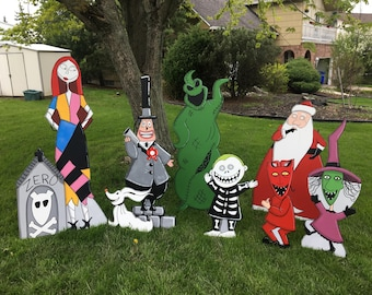 hand painted nightmare before christmas yard art set of ten characters - Nightmare Before Christmas Lawn Decorations