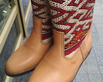 01073c6adb0f Handmade Vintage Kilim Leather Boots in Red   Size 38  Moroccan Boots