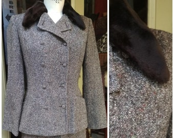 03a5cb065b0 Vintage Suit Cacharel Skirt and jacket Brown / 90s Cacharel Winter Women  Clothes Vintage