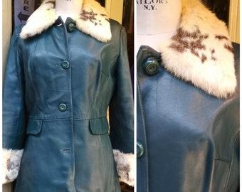 5e59b2c83b3 Vintage 1970s Blue Leather and Coney Fur Russian Princess Coat   Vintage  Coat