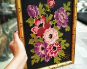 Vintage Needle Point Hand embroidered Flower in Gold vintage Frame Wall Hanging Kitsch Decor