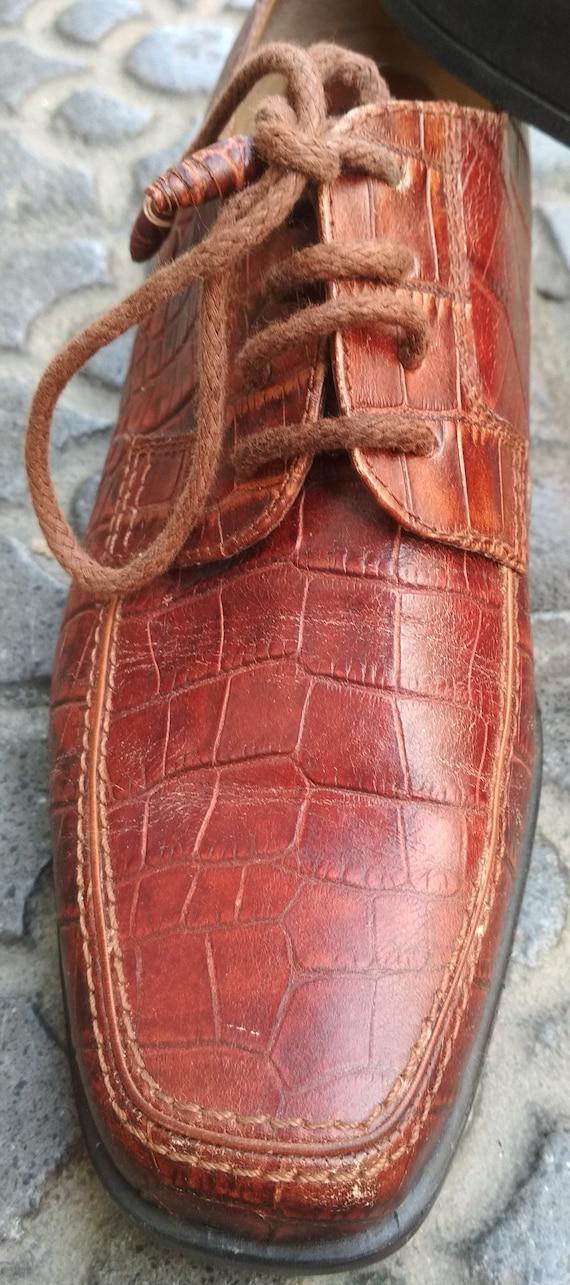 Shoes embossed leather vintage women / Elegant le… - image 8