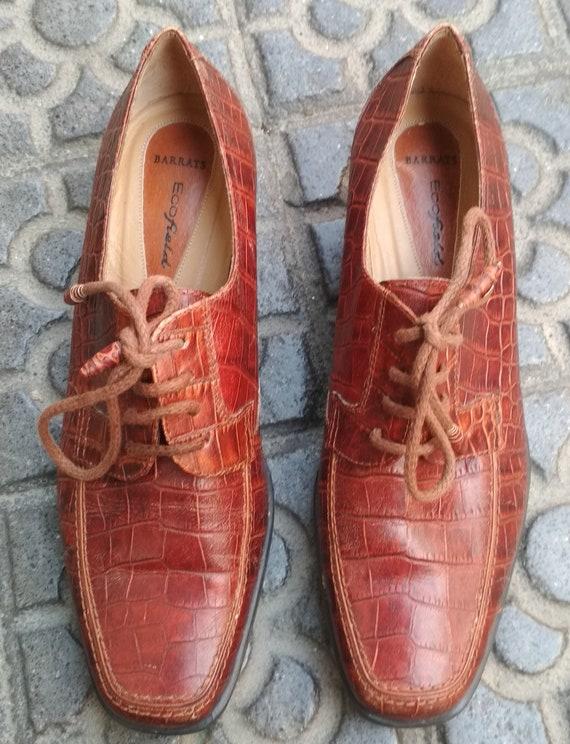 Shoes embossed leather vintage women / Elegant le… - image 10