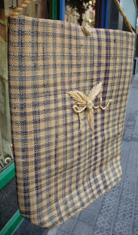 Straw bag in natural worn vichy blue shoulder vint