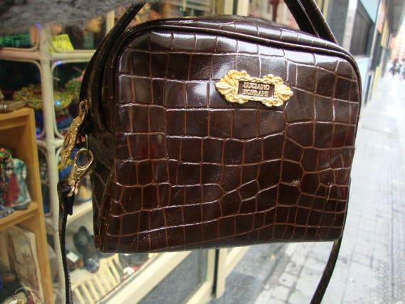 prezzo all'ingrosso consegna veloce raccolto Borsa di pelle vintage Luciano Soprani brevetto cuoio di Crossbody Bag /  borsa Vintage / Moc Croc Bag