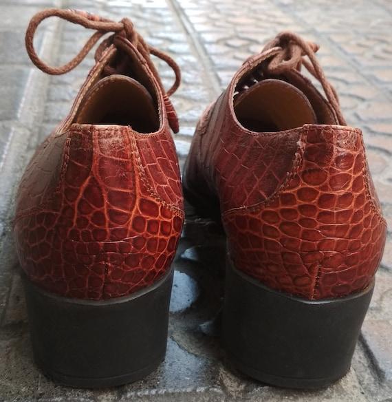 Shoes embossed leather vintage women / Elegant le… - image 6