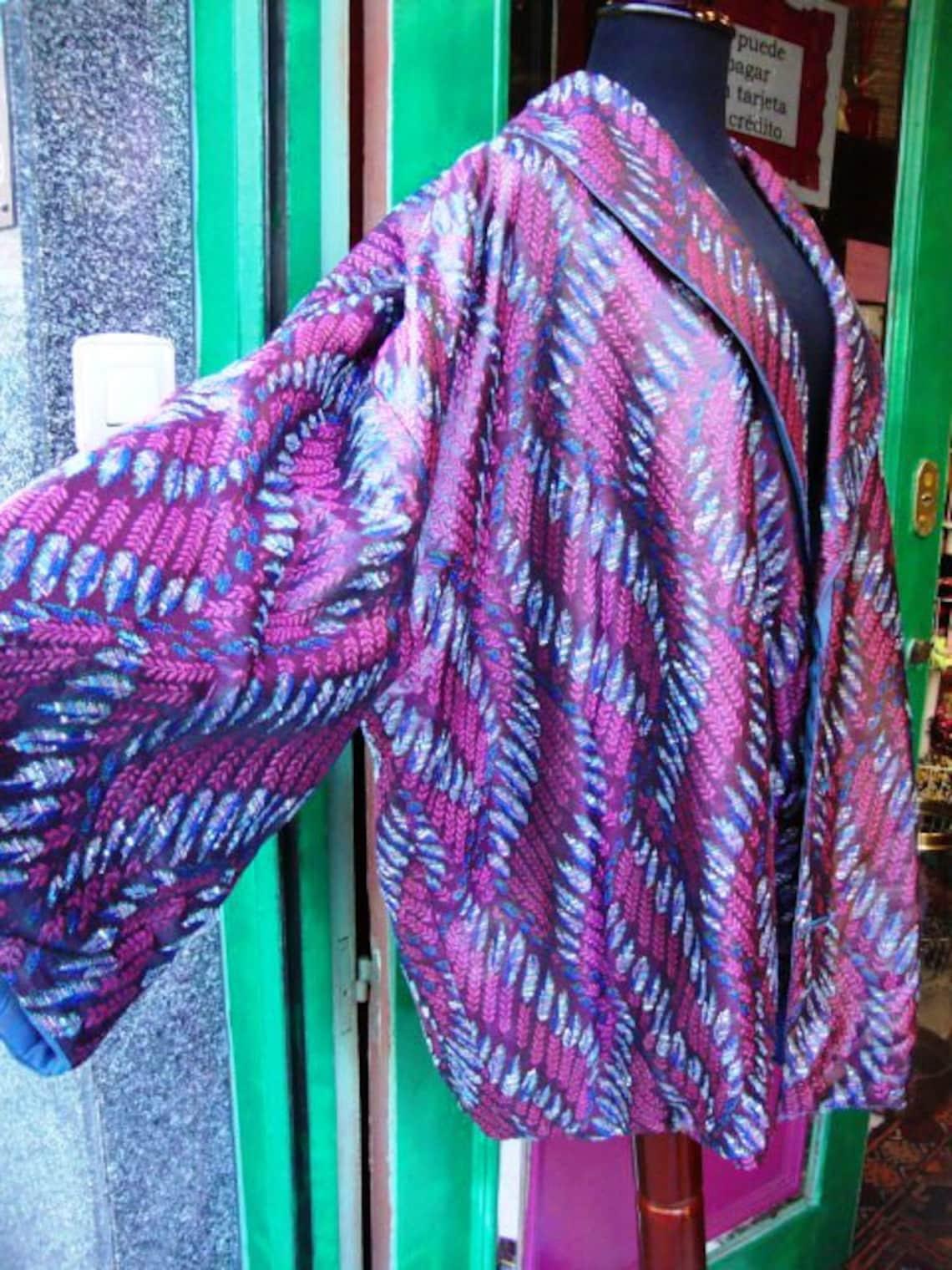 Vintage Geometric Silk Jacket Kimono Style / Woman Reversible