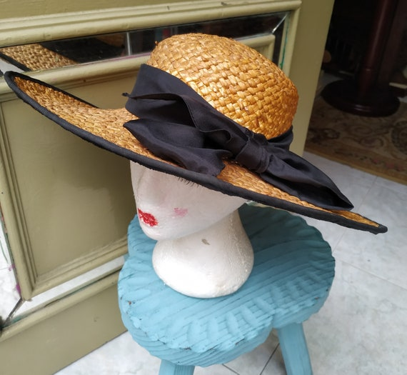 Vintage Summer Straw hat with black tie / Sunhat … - image 4