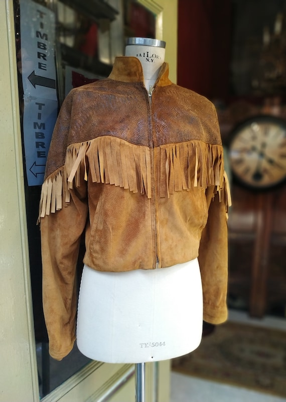 Vintage Fringed Leather Suede and Snake Style Jack