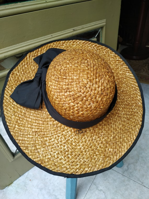 Vintage Summer Straw hat with black tie / Sunhat … - image 9