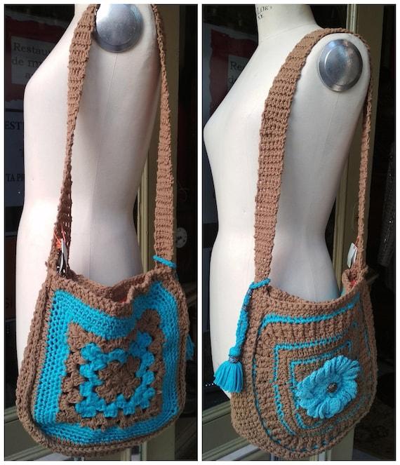Bags Crochet Handmade Shoulder bag Blue and Brown