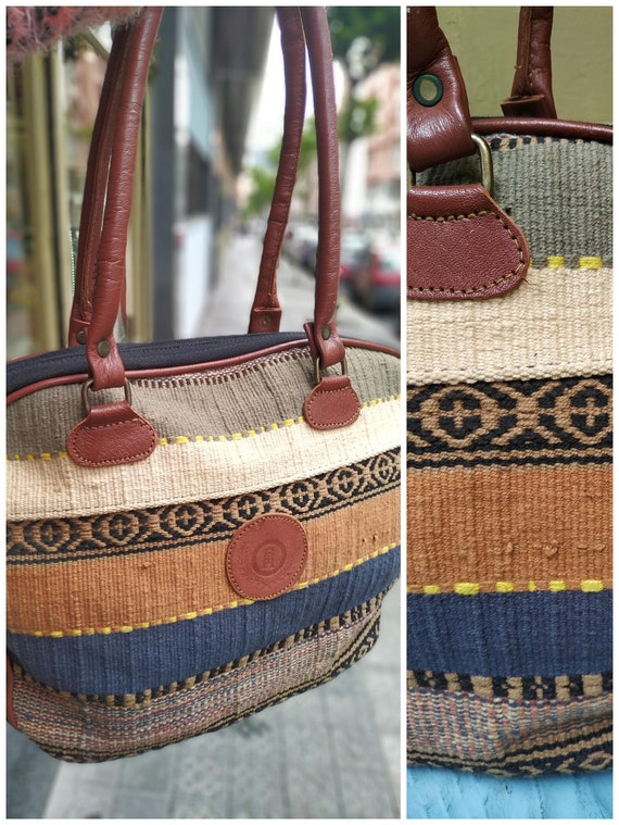 Vintage fabric ethnic bag / Tapestry Bag / Casual
