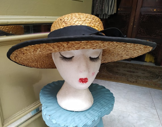 Vintage Summer Straw hat with black tie / Sunhat … - image 3