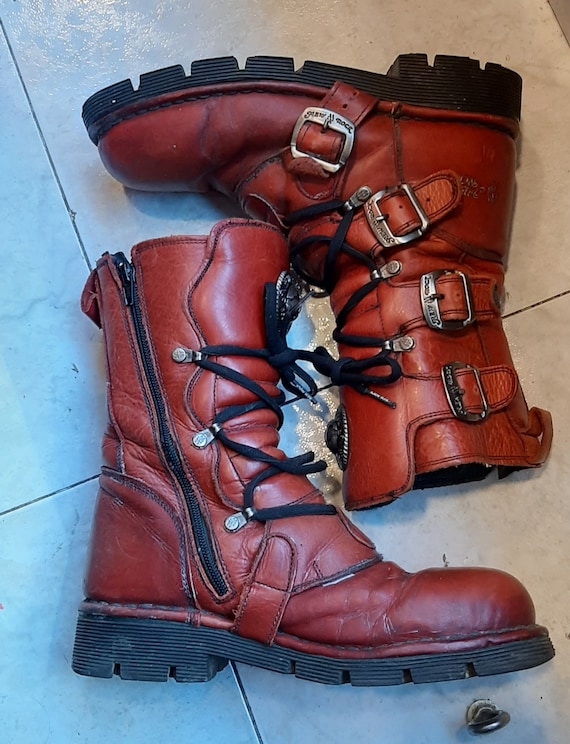 New Rock Vintage boots 90s in Red //  Goth Girl //