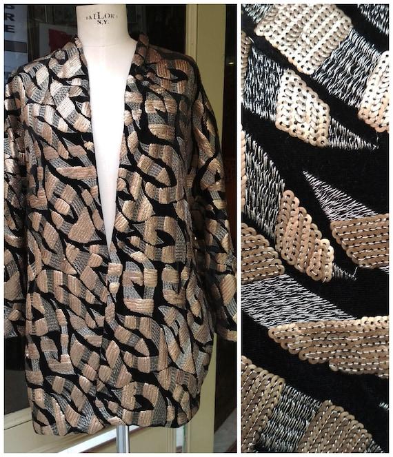 Vintage Gold and Black Velvet Sequin jacket / Vint