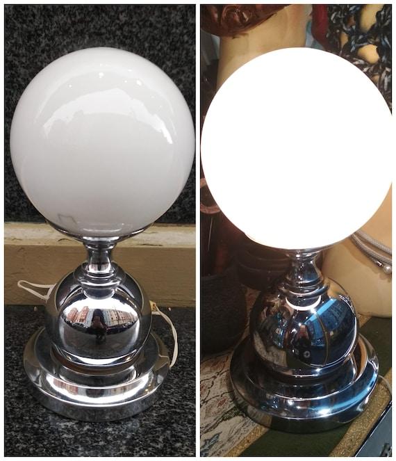 Vintage White ball table lamp globe