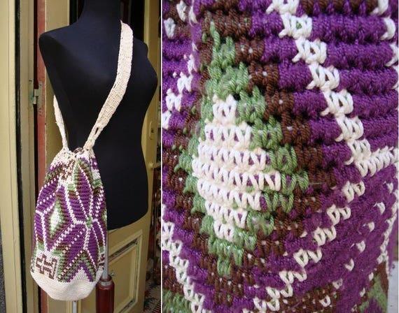 Vintage handbag | 60s crochet purse | Purple, brow