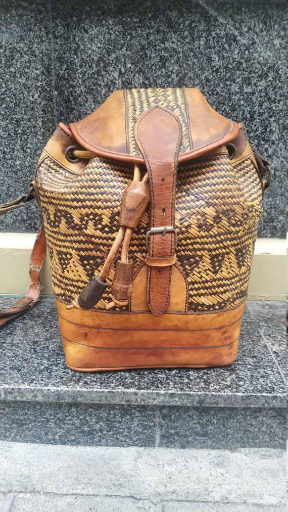Vintage Shoulder bag Straw woven and leather // Hi