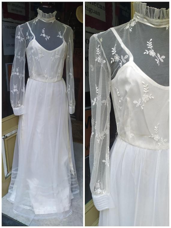 Vintage Wedding dress // 70s Long Dress // Tulle E