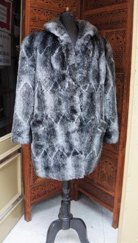 1960s Faux Fur Coat Vintage// Gray Faux fur Coat /