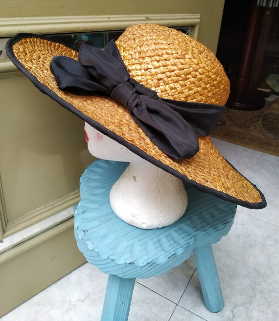 Vintage Summer Straw hat with black tie / Sunhat … - image 2