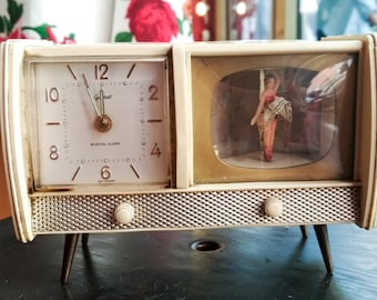 Vintage Dancing Ballerina Music German Musical Alarm Clock / German Alarma Clock  goldbuhl Peter