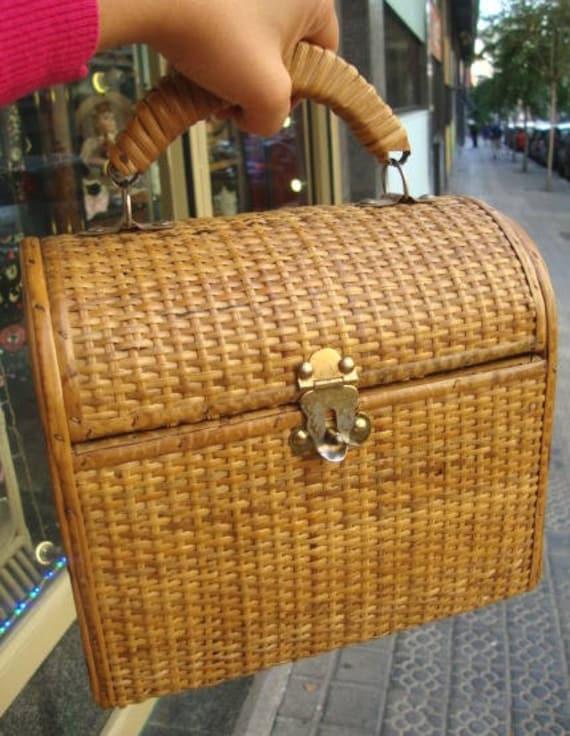 Vintage Wicker Original Handbag / Wicker purse /vi