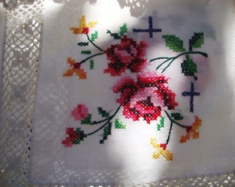 "Vintage cross stitch tablecloth, 60.8"" inch x 52.7"" inch Large, lace tablecloth, handmade cotton/linen"