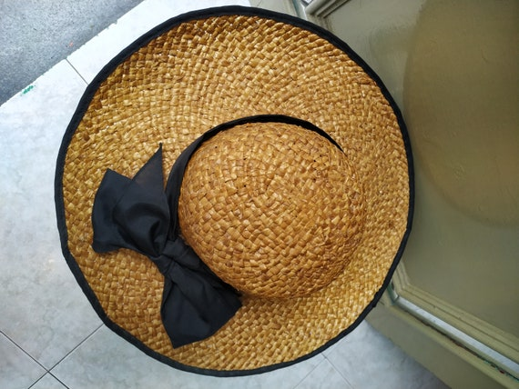 Vintage Summer Straw hat with black tie / Sunhat … - image 6
