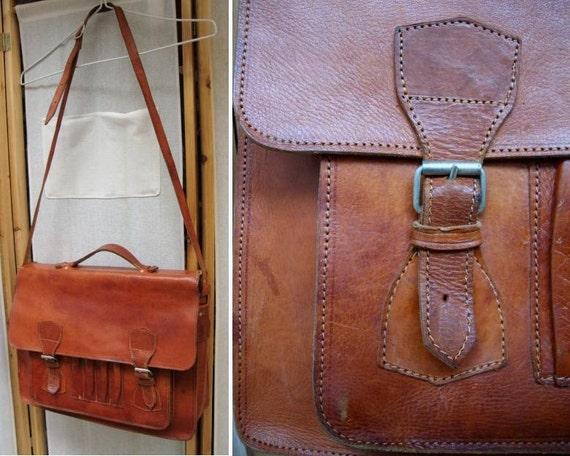 f16649e85dd1 Vintage Leather Briefcase Brown  Vintage leather bag  Laptop