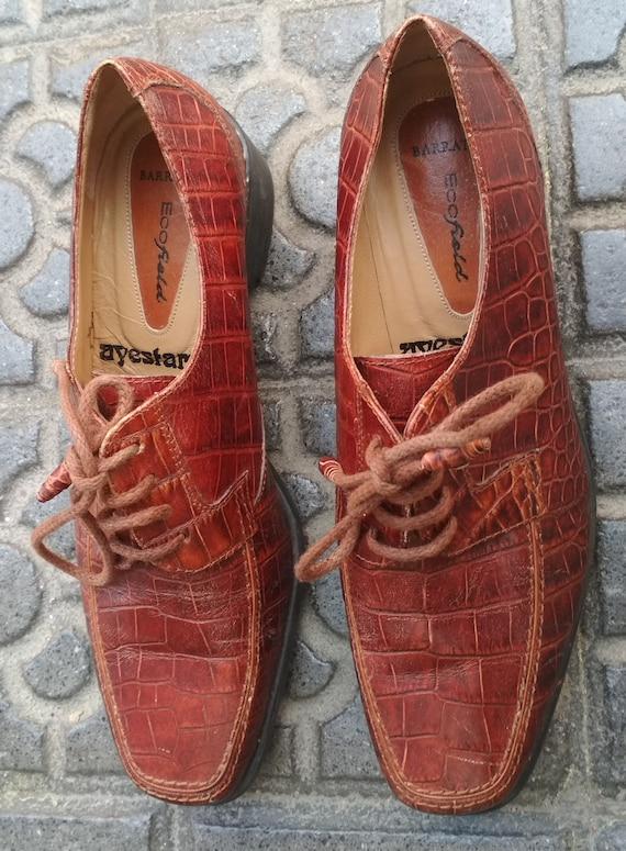 Shoes embossed leather vintage women / Elegant le… - image 4