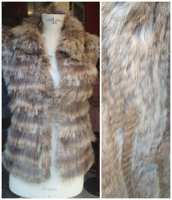 Vintage real rabbit fur waistcoat Women / Size S -
