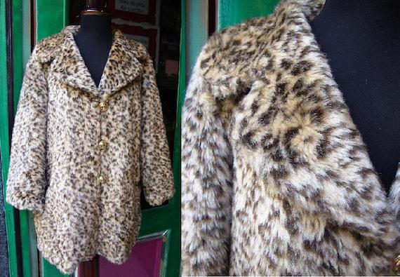 Vintage faux Fur 80s Leopard / Jacket Faux Fur coa