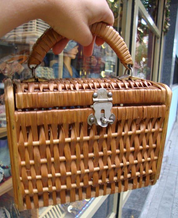 Vintage Wicker Handbag / Wicker purse /vintage wic