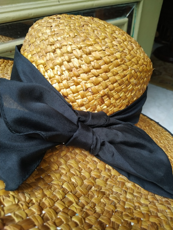 Vintage Summer Straw hat with black tie / Sunhat … - image 7