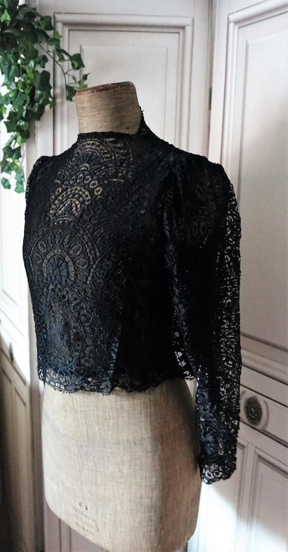 Antique Lace blouse Jacket Victorian // Black Blou