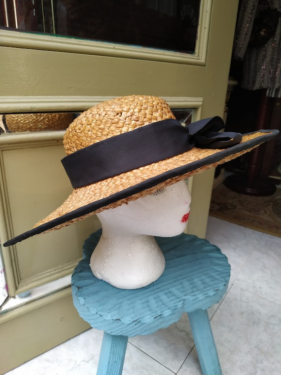 Vintage Summer Straw hat with black tie / Sunhat … - image 8
