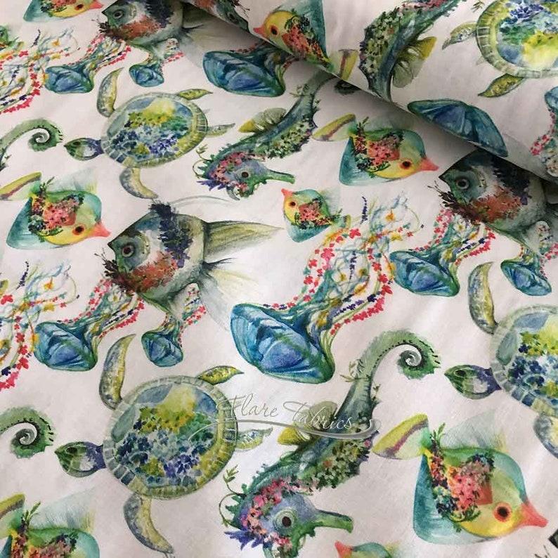 Borabora Sea Creatures | Turtles, Seahorses & Fish | European Import | Stof  of France, Digital Print | 100% cotton