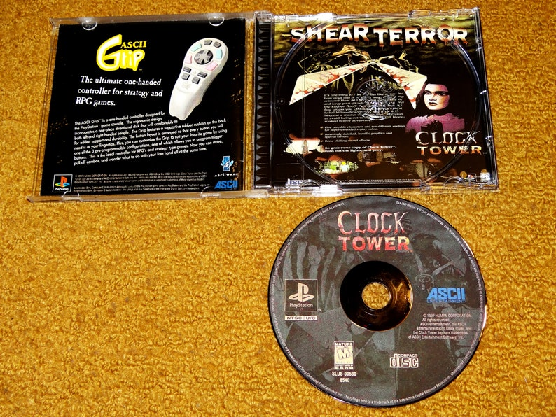 reprinted manual Clock Tower Play Station reproduction game CD see variations below case /& case insert System MUST Be Modded!!!