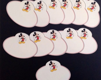 Group of 12 Walt Disney World Mickey Mouse Themed Name Locker Cubbie Desk Tags Plates