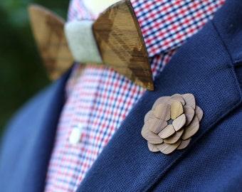 "Wooden Lapel Flower- ""Jamestown"" // Groomsmen Gift // Gifts for Him"