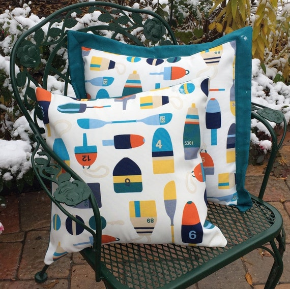 Outdoor Pillow Cover Sets With A Buoy Decor And Nautical Theme Etsy