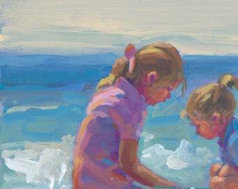 c9851159ba MÄDCHEN SPIELEN 2. Zwei Mädchen beim Spielen am Strand, Strand-Szene,  verschiedene Größen, Leinwand Drucke, Impressionsm, Lucelle Raad Art